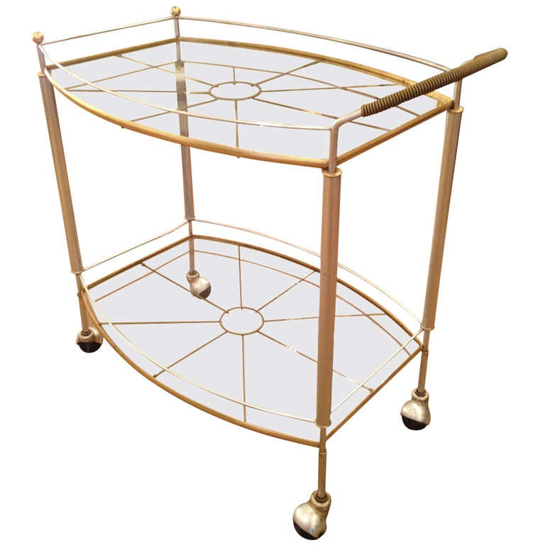 Mid Century Bar Cart in Silver and Gold Metal Leaf 1