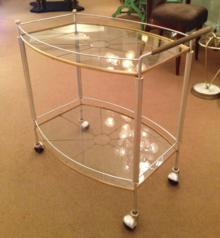 Mid Century Bar Cart in Silver and Gold Metal Leaf 2
