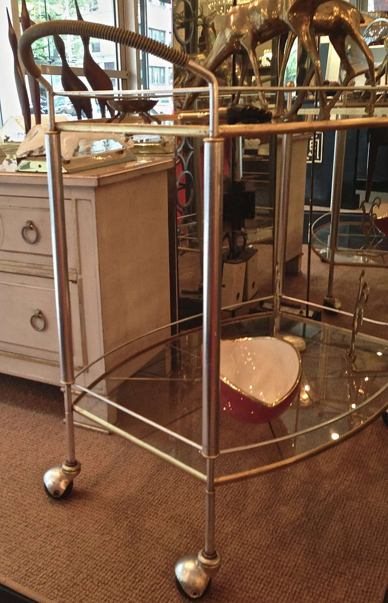 Mid Century Bar Cart in Silver and Gold Metal Leaf 4