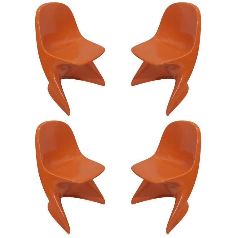 Set of four orange casalino children 39 s chairs at 1stdibs for Orange kids chair