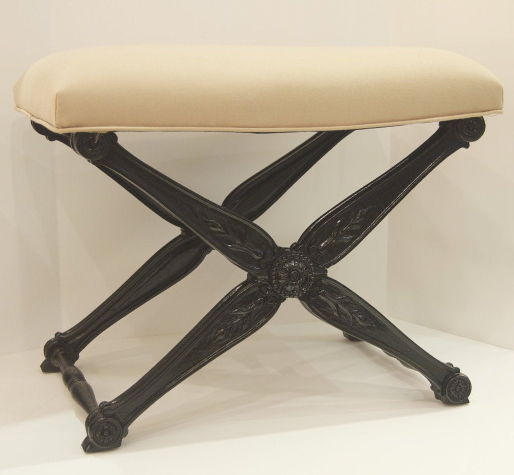 X Base Bench With Naturalistic Ornamentation At 1stdibs