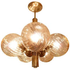 Amber Swirl Glass Globe and Brass Sputnik Chandelier