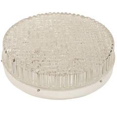 Textured Grid Pattern Industrial Glass Flush Mount