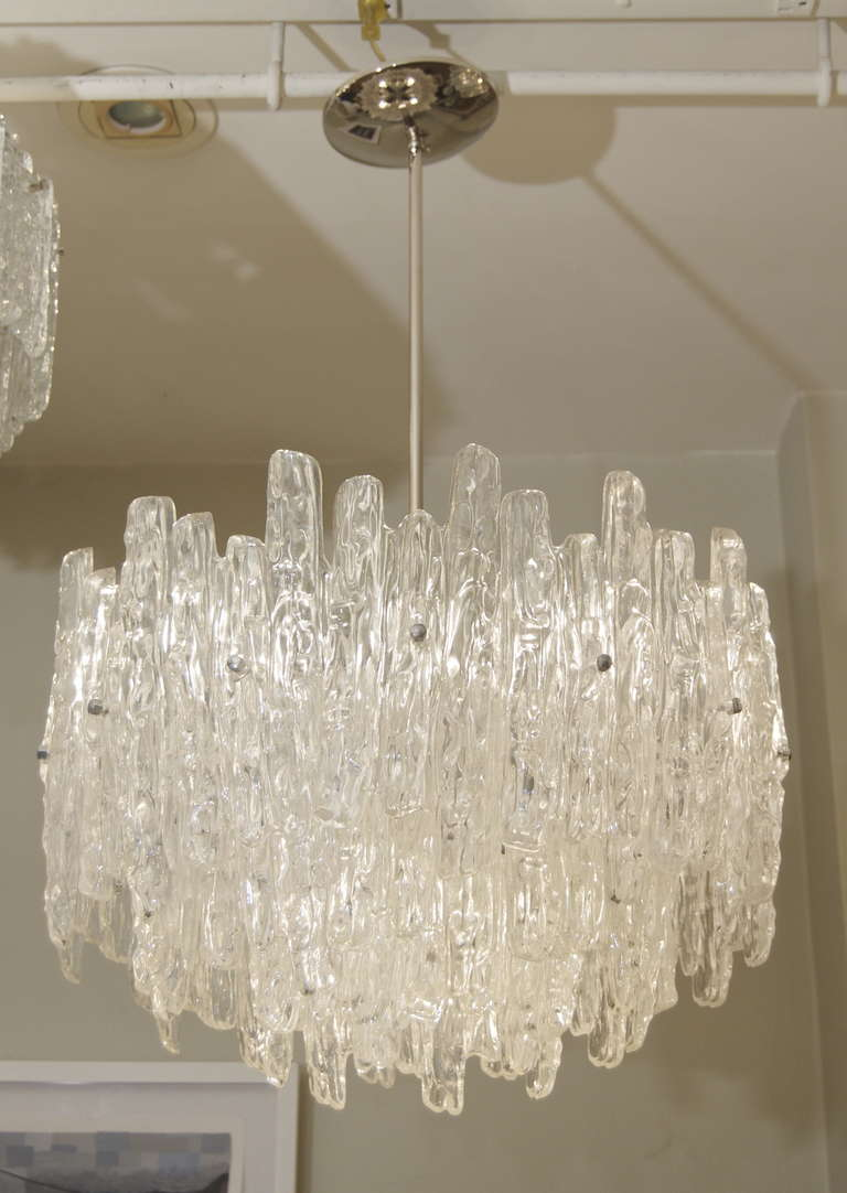 Mid-Century Modern Large Three Tier Kalmar Style Ice Lucite Chandelier For Sale