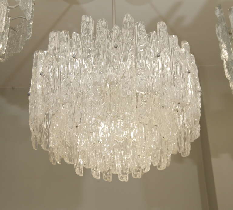 German Large Three Tier Kalmar Style Ice Lucite Chandelier For Sale