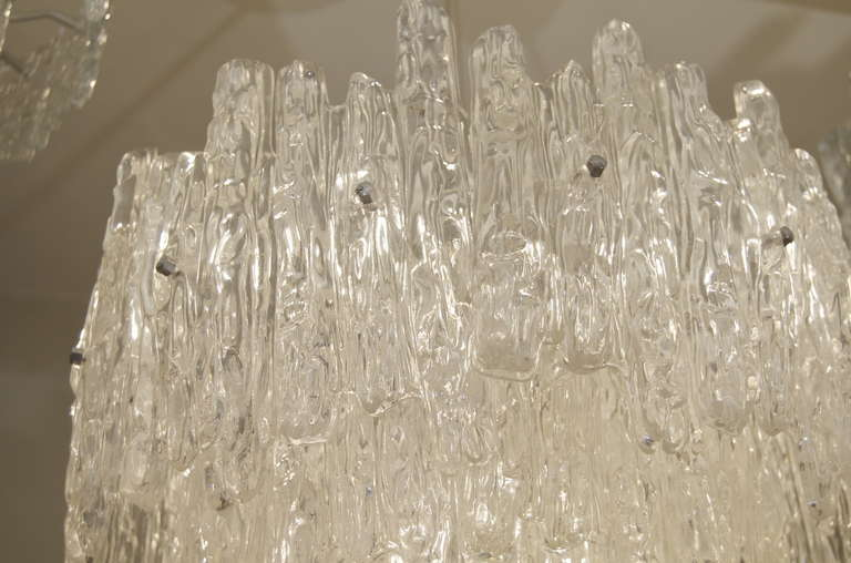 Large Three Tier Kalmar Style Ice Lucite Chandelier In Excellent Condition For Sale In Stamford, CT