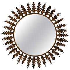 Huge Metal Round Leafed Sunburst Mirror