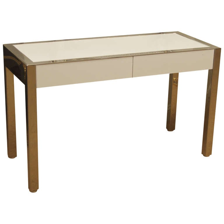 Modern Chrome And White Laminate Desk Or Console Table At