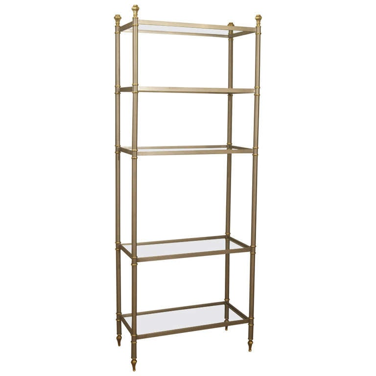 Maison jansen style etagere or bookshelf in steel and brass at 1stdibs - Etagere faite maison ...