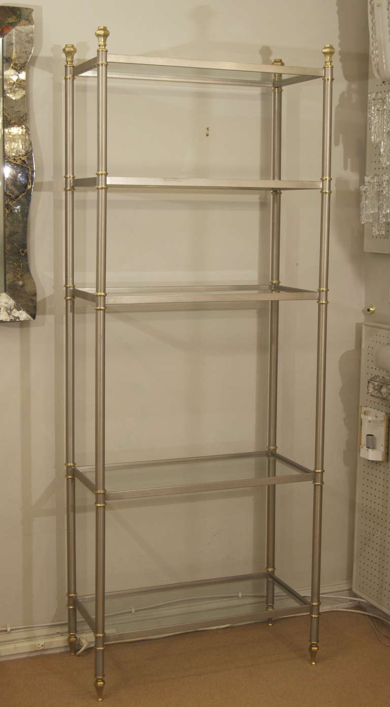 maison jansen style etagere or bookshelf in steel and brass at 1stdibs. Black Bedroom Furniture Sets. Home Design Ideas