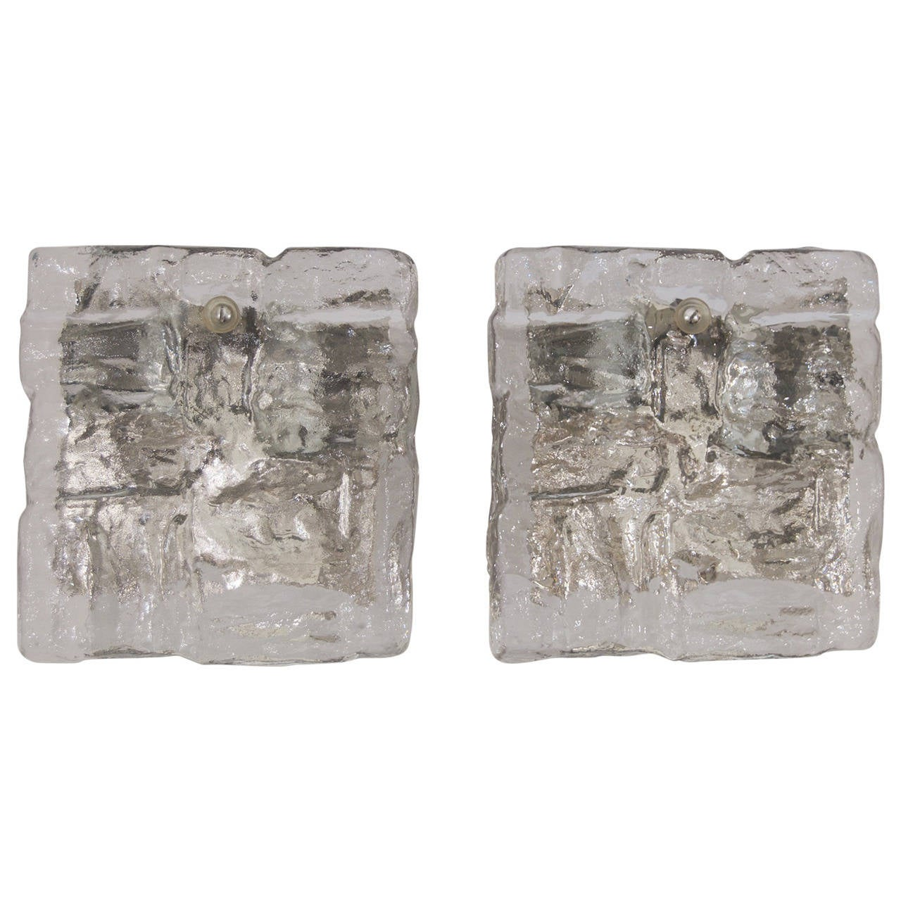 Pair of Kalmar Ice Glass Block Sconces