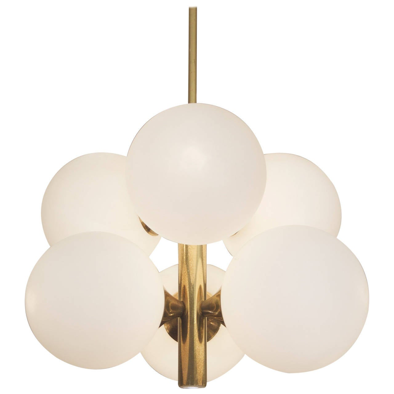 Six Globe Opal and Brass Chandelier