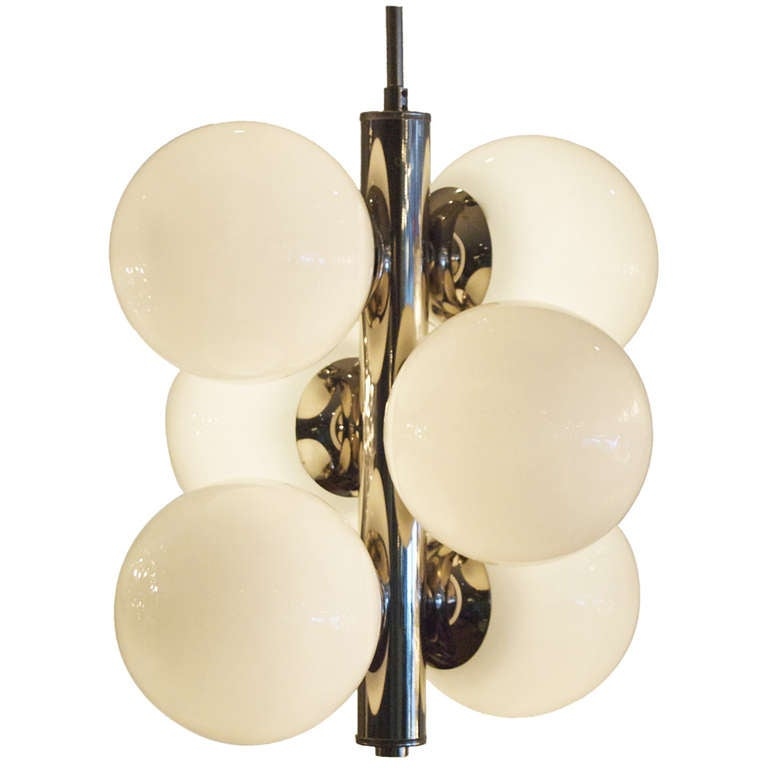 Nickel And Glass Opaque Globes Ceiling Fixture At 1stdibs