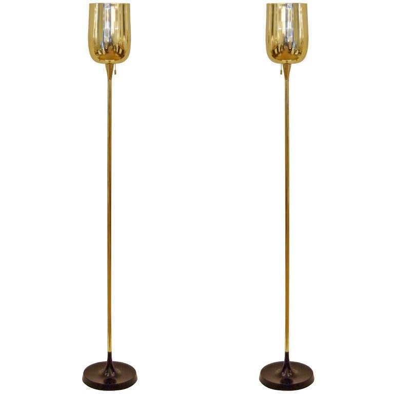 Pair of pierced brass torchiere floor lamps with enamel for Pierced metal floor lamp