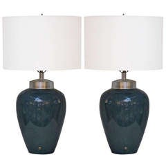 Pair of Porcelain Lamps in Teal with Silver Leafed Mounts