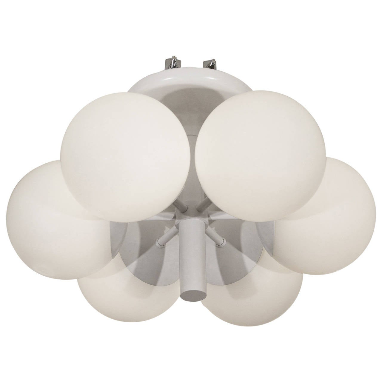 Six-Globe Radial Kaiser Chandelier in White Enamel