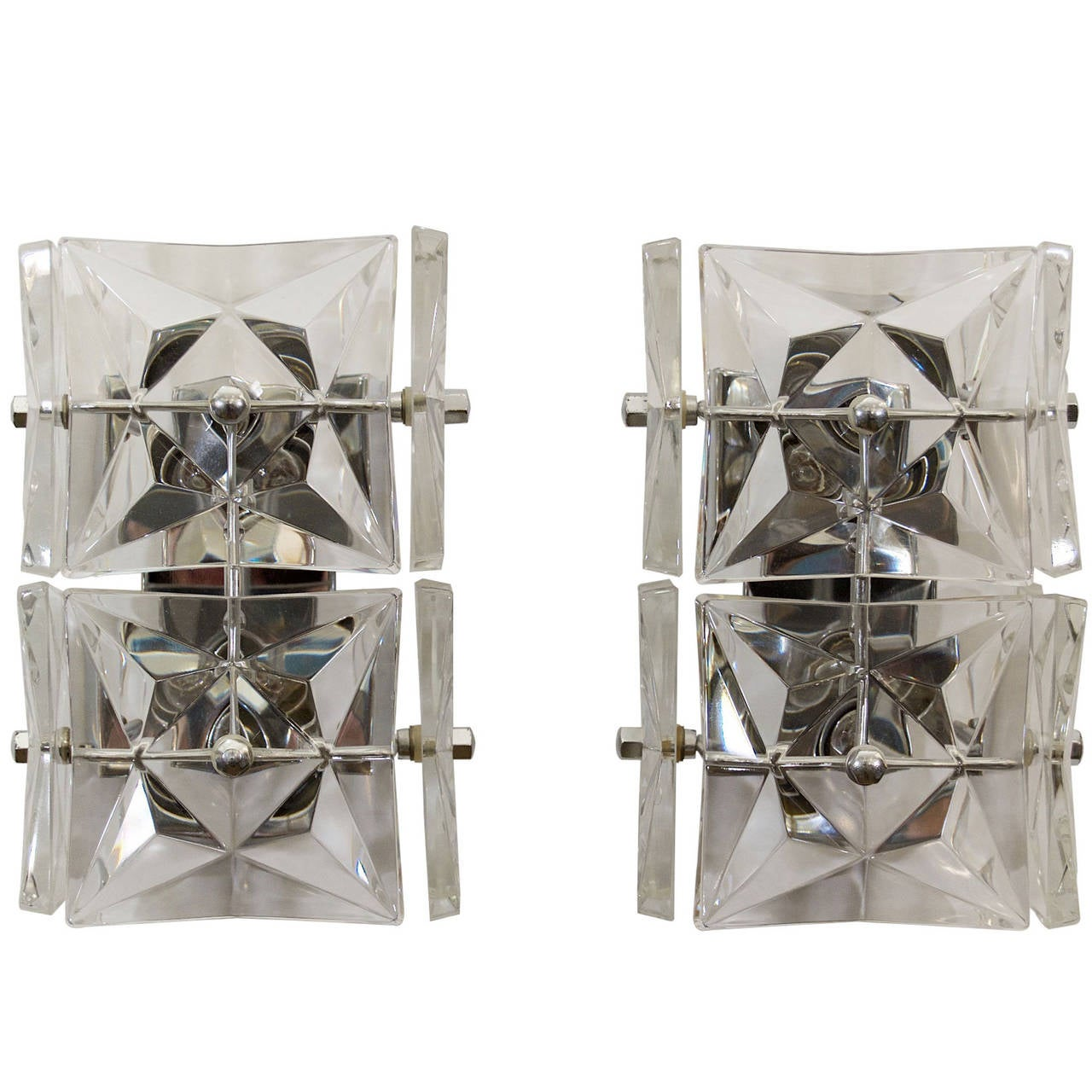 Pair of Kinkeldey Crystal Sconces