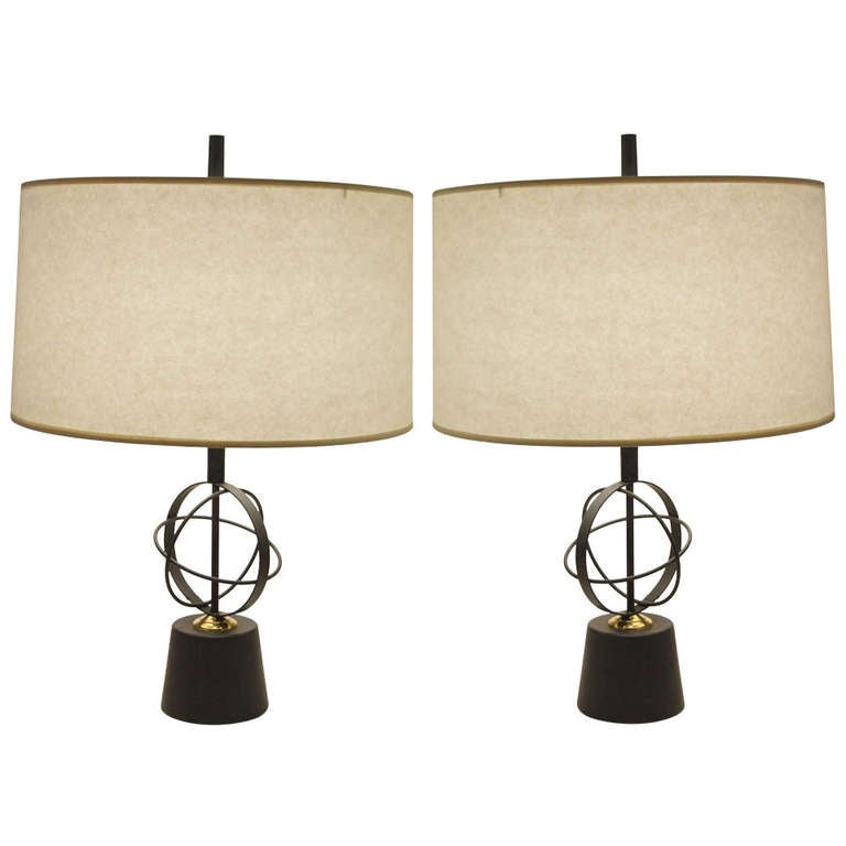 Pair of Astrolabe Form Mid-Century Table Lamps