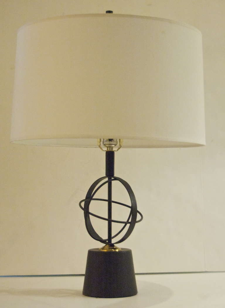 Pair of Astrolabe Form Mid-Century Table Lamps 5
