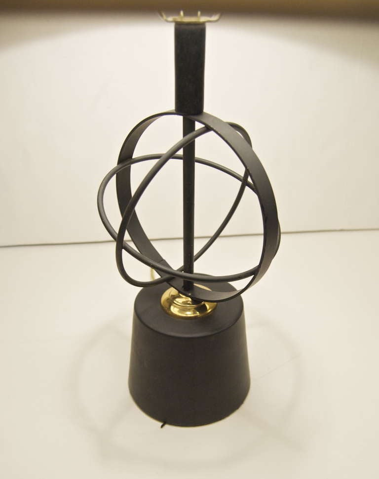 Pair of Astrolabe Form Mid-Century Table Lamps 4