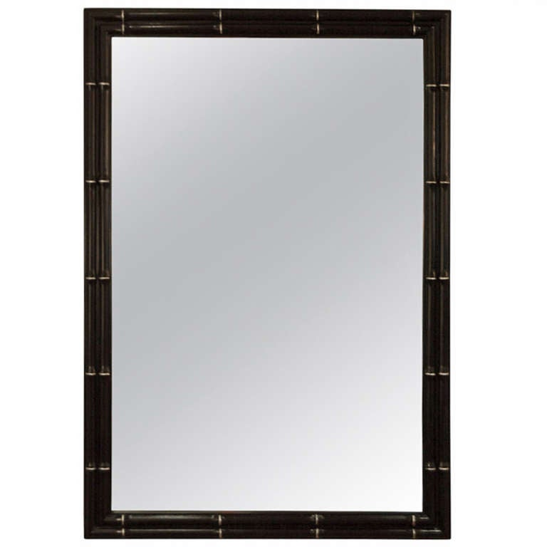 Faux Bamboo Lacquer Mirror with Silver Leaf Detail
