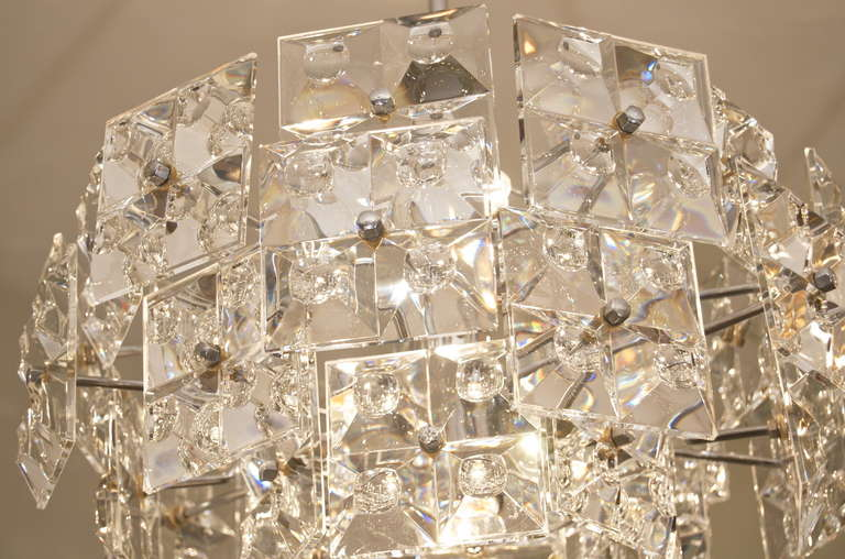 Rare Kinkeldey Chandelier With Massive Geometric Crystals
