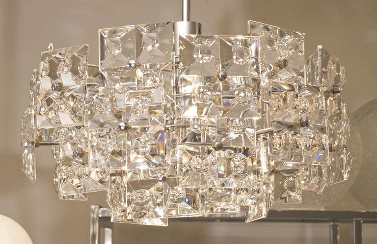 Rare Kinkeldey Chandelier With Massive Geometric Crystals