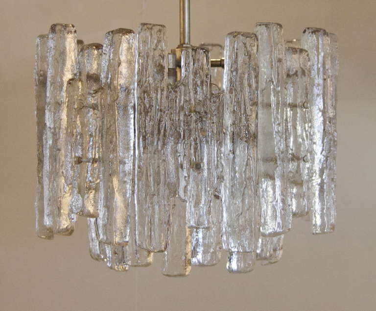 Unusual Kalmar Chandelier with Massive Ice Glass Pieces at