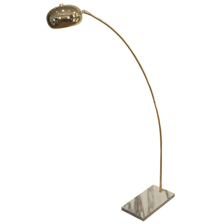 chrome midcentury arc lamp with marble base at 1stdibs. Black Bedroom Furniture Sets. Home Design Ideas