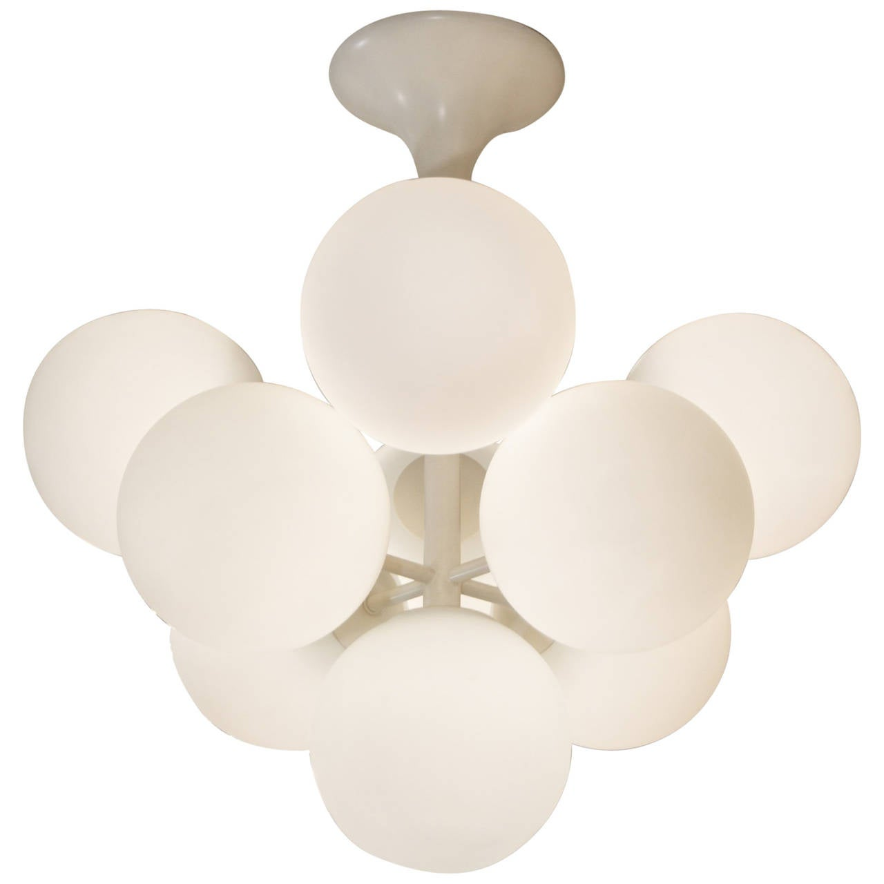 Temde Atomic Chandelier in White Enamel with Opal Globes For Sale