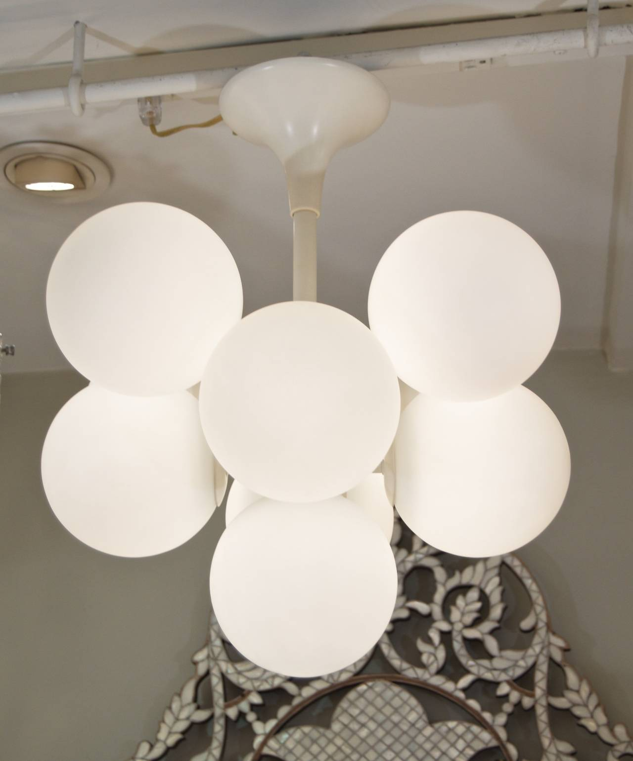 Temde Atomic Chandelier in White Enamel with Opal Globes at 1stdibs