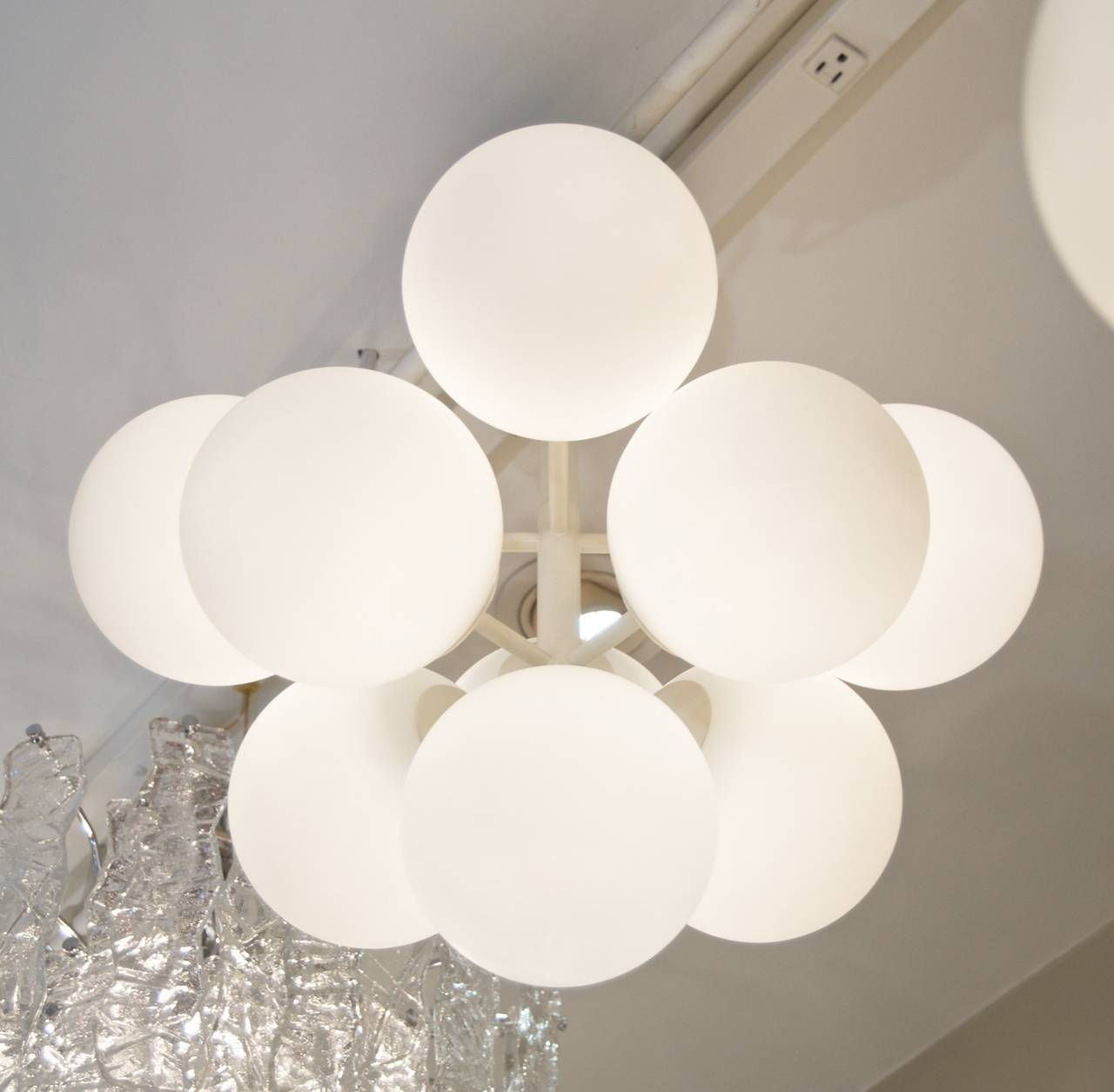 Swiss Temde Atomic Chandelier in White Enamel with Opal Globes For Sale