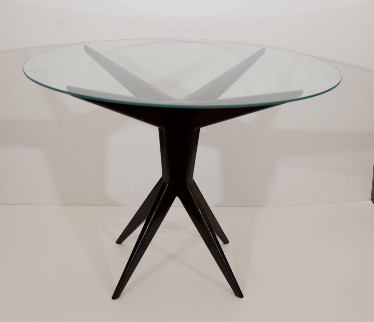 Italian glass top round occasional table for sale at 1stdibs for Glass top occasional tables