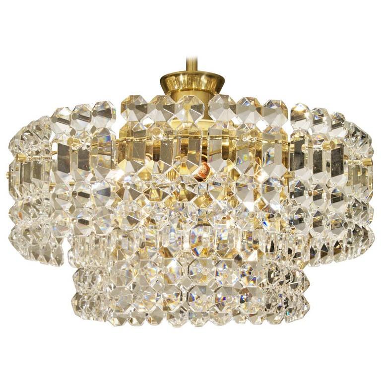 Kinkeldey Goldplate Grid Crystal Chandelier 1