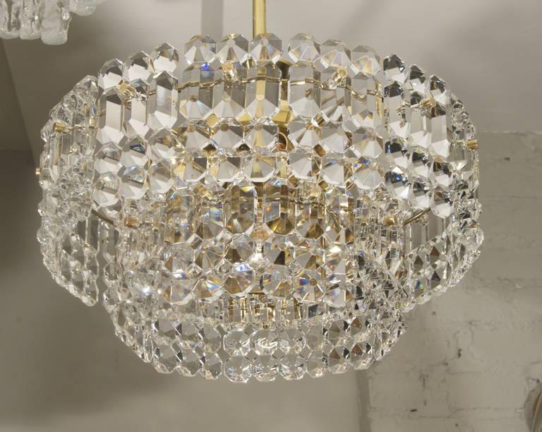 Kinkeldey Goldplate Grid Crystal Chandelier 4