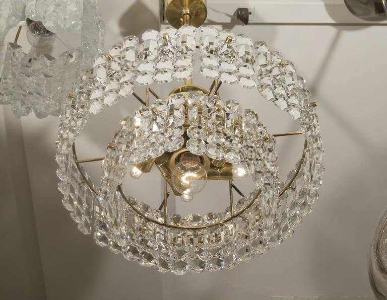 Kinkeldey Goldplate Grid Crystal Chandelier 5