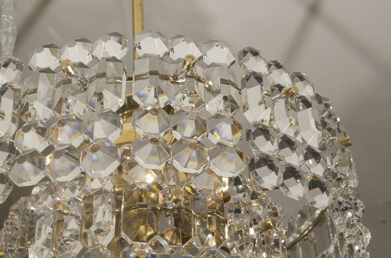 Kinkeldey Goldplate Grid Crystal Chandelier In Excellent Condition For Sale In New York, NY