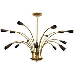 Stunning Black Enamel and Brass Stilnovo Style Chandelier