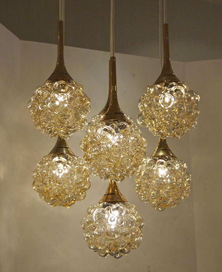 German Amber-Tone Bubble Pendant Chandelier with Brass Accents For Sale