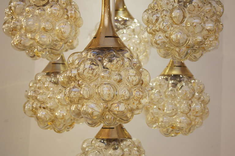 Amber-Tone Bubble Pendant Chandelier with Brass Accents For Sale 1