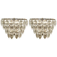 Multi-Tiered Silver-Plate Crystal Sconces
