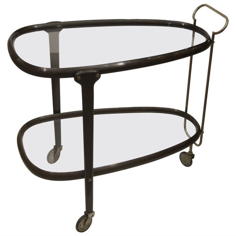 Excellent Italian Bent Wood Bar Cart with Brass and Glass