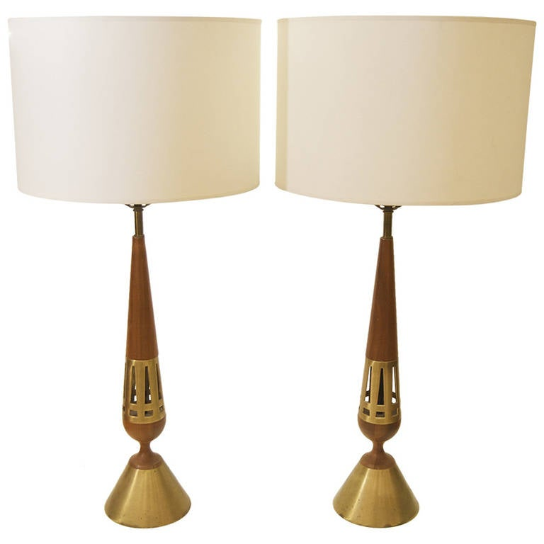 Pair of Tony Paul for Westwood Brass and Walnut Table Lamps