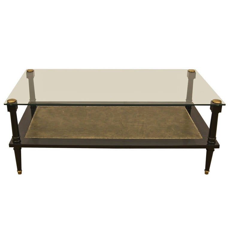 Ebonized coffee table with glass top and leather at 1stdibs Coffee table with leather top