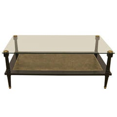 Ebonized Coffee Table with Glass Top and Leather