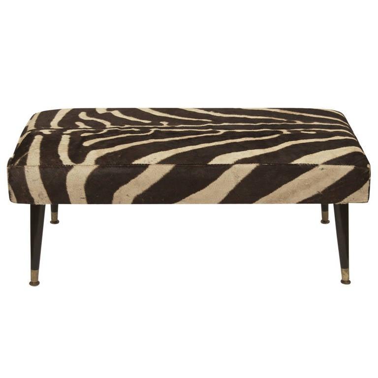 Vintage Zebra Hide Bench With Black Ebonized Legs At 1stdibs