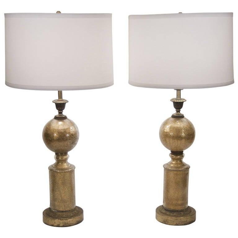 Pair Of Eglomise Crackle Glass Table Lamps For Sale