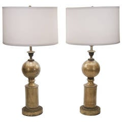 Pair of Eglomise Crackle Glass Table Lamps