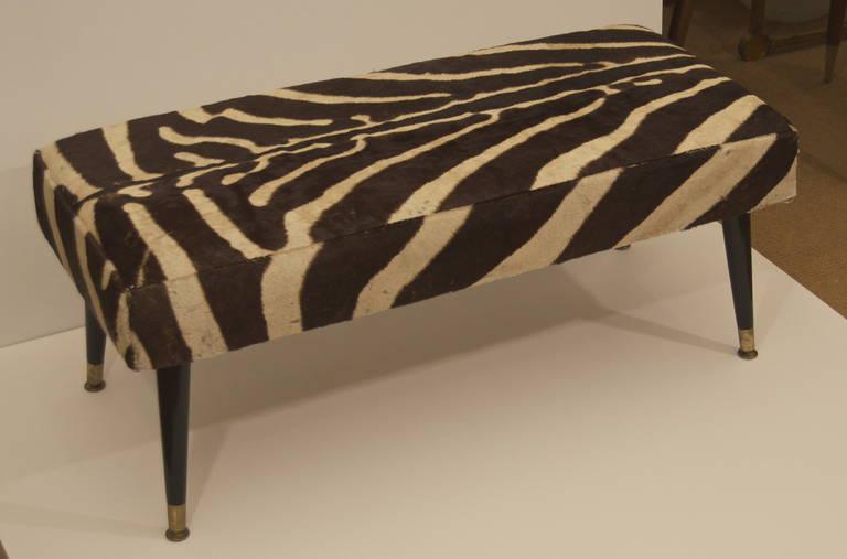 Vintage Zebra Hide Bench With Black Ebonized Legs For Sale At 1stdibs