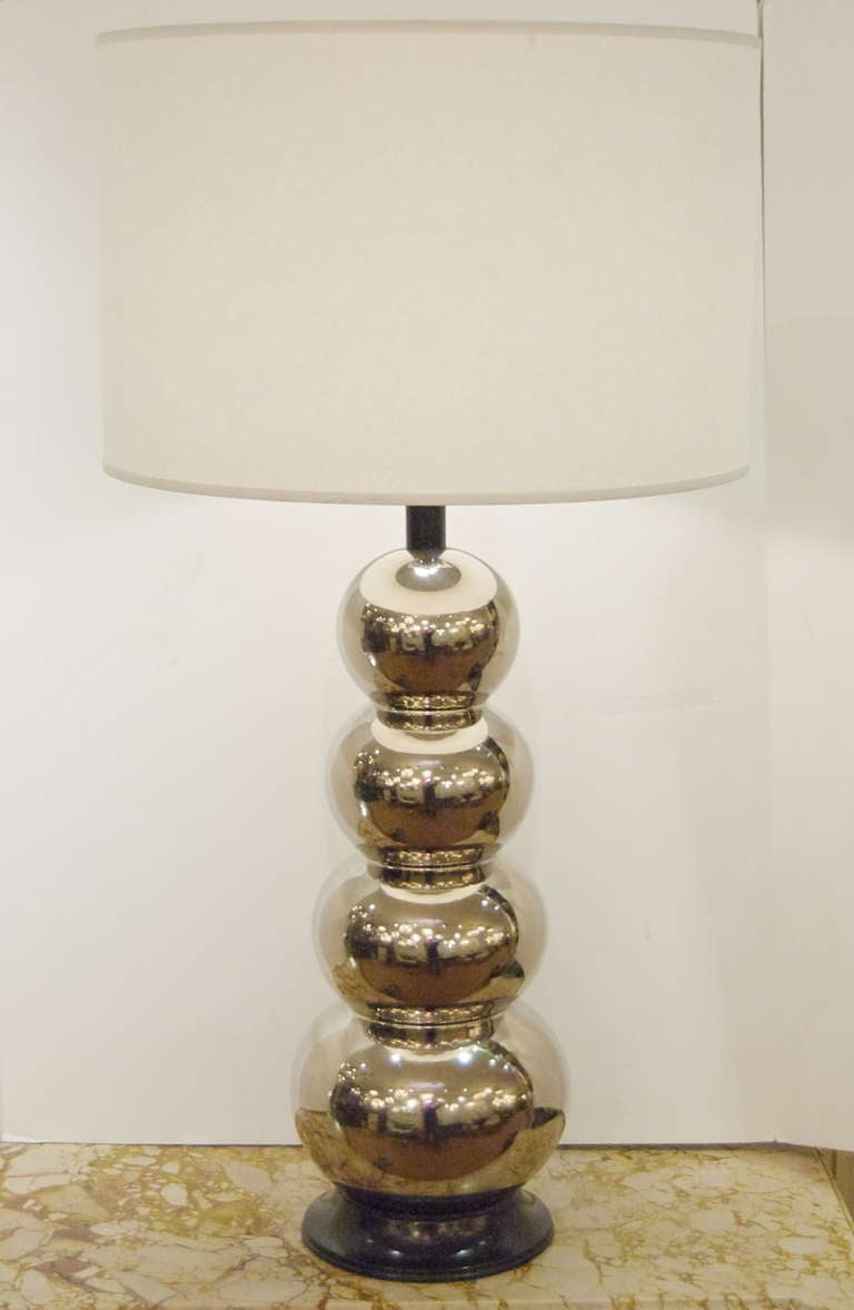 Art deco silver and stacked crystal ball floor lamp at 1stdibs - Glaze Ceramic Stacked Ball Table Lamp 2